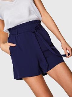 Self Belted Frilled Shorts