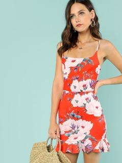 Floral Print Mini Dress with Ruffle Trim