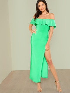 Ruffle Bardot Maxi Dress with Side Slit