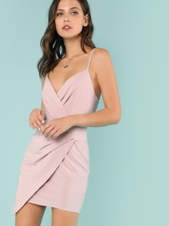 Surplice Mini Dress with Pleated Detail