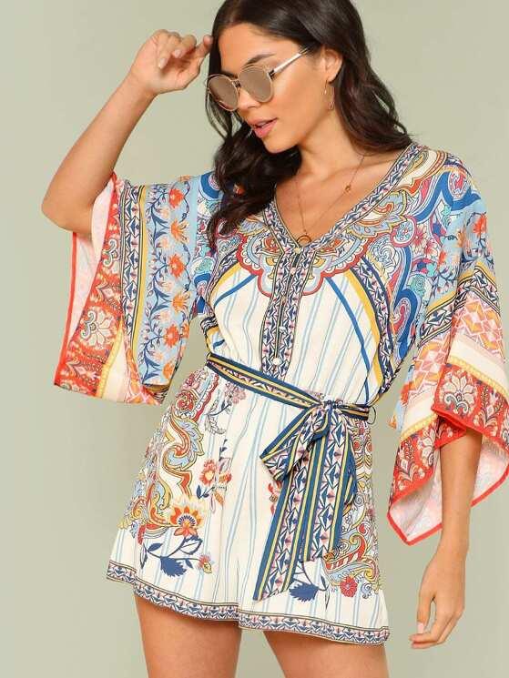 6eb052ef3 Tribal Print Kimono Sleeve Romper | MakeMeChic.COM