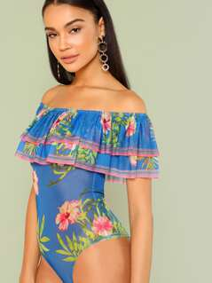 Floral Print Sheer Ruffle Bardot Bodysuit