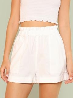 Frill Waist Paperbag Shorts