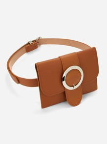Metal Buckle Belt With Detachable Bag
