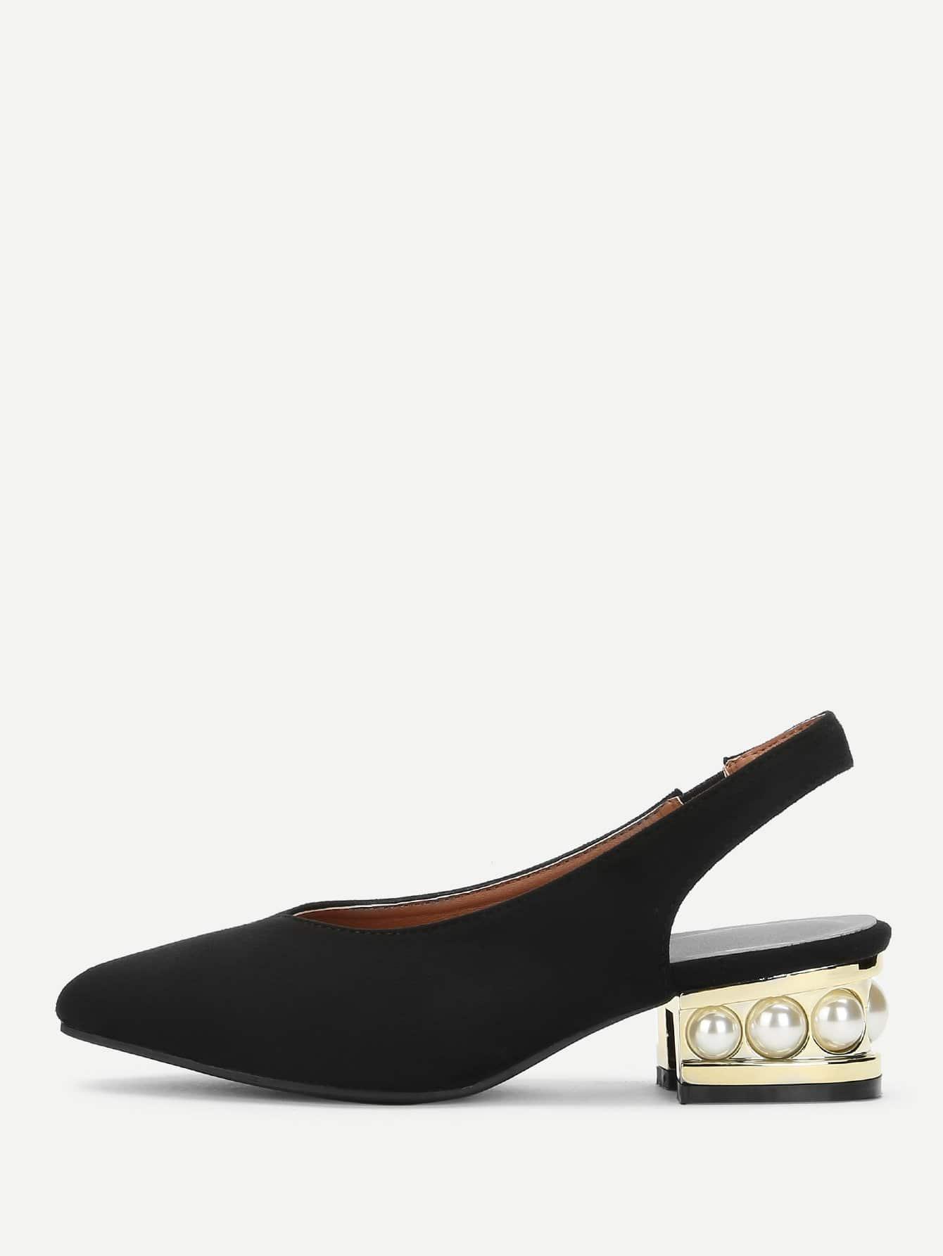 Купить Туфли с жемчужинами на каблуках, null, SheIn