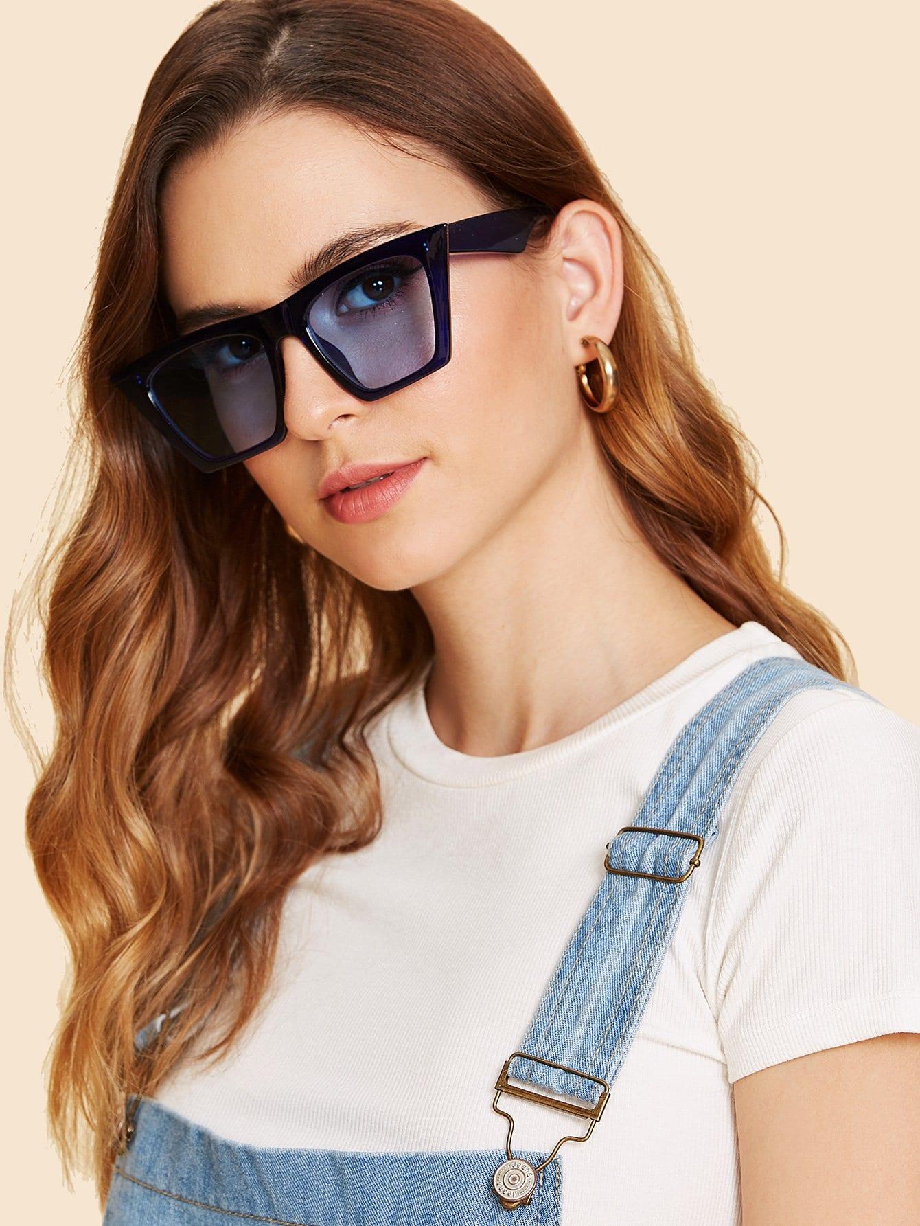 Plain Frame Cat Eye Sunglasses cat eye glasses tinize 2015 tr90 5832
