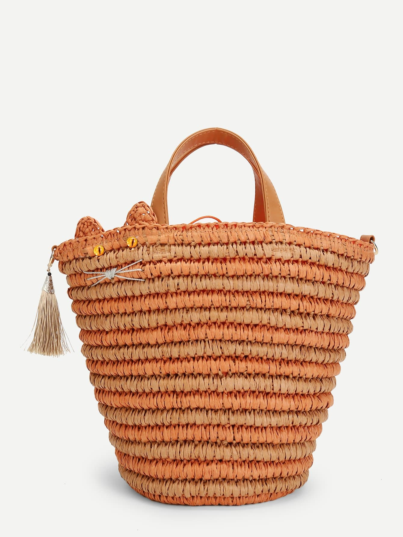 Straw Tote Bag With Tassel straw flamingo embroidered tote bag