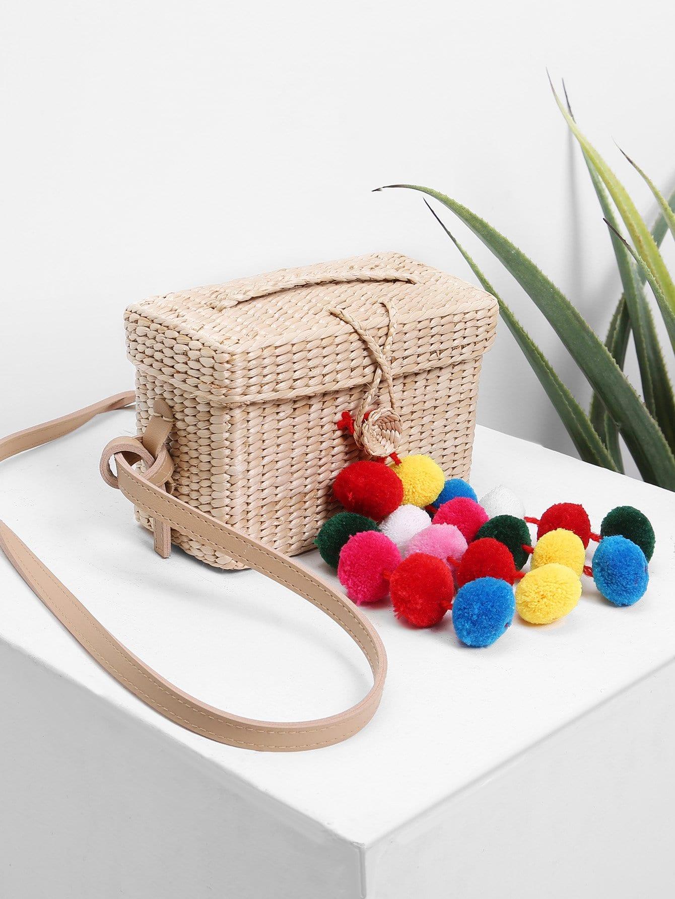 Straw Box Bag With Pom Pom straw clutch bag with pom pom