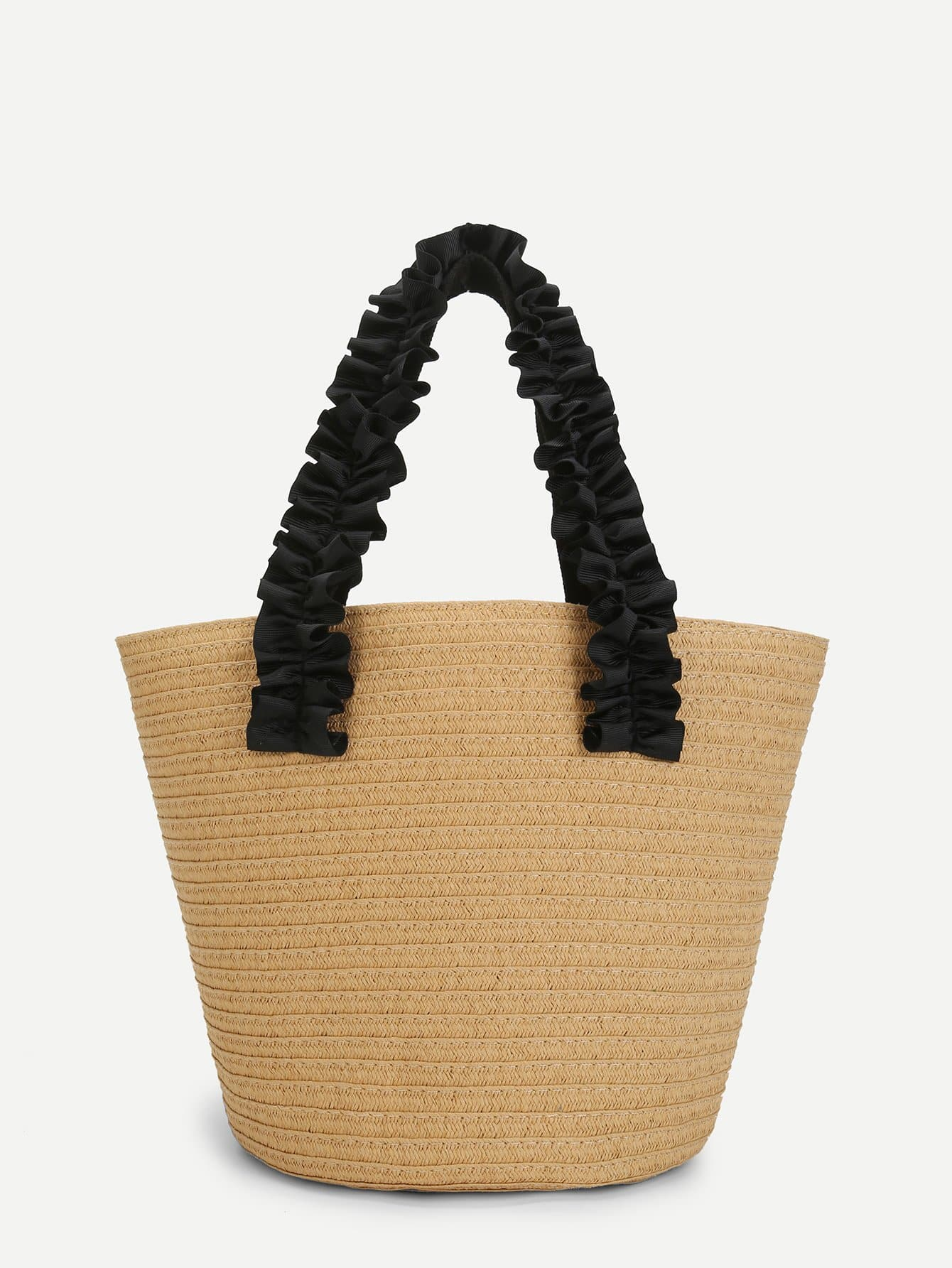 Contrast Frill Strap Straw Tote Bag straw flamingo embroidered tote bag