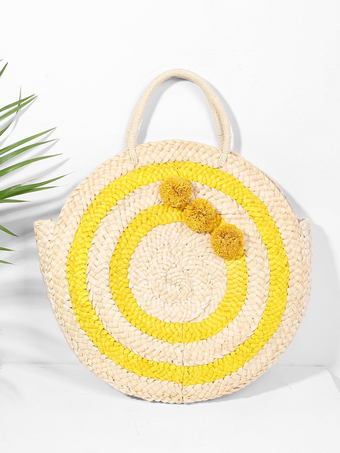 Round Straw Tote Bag straw flamingo embroidered tote bag
