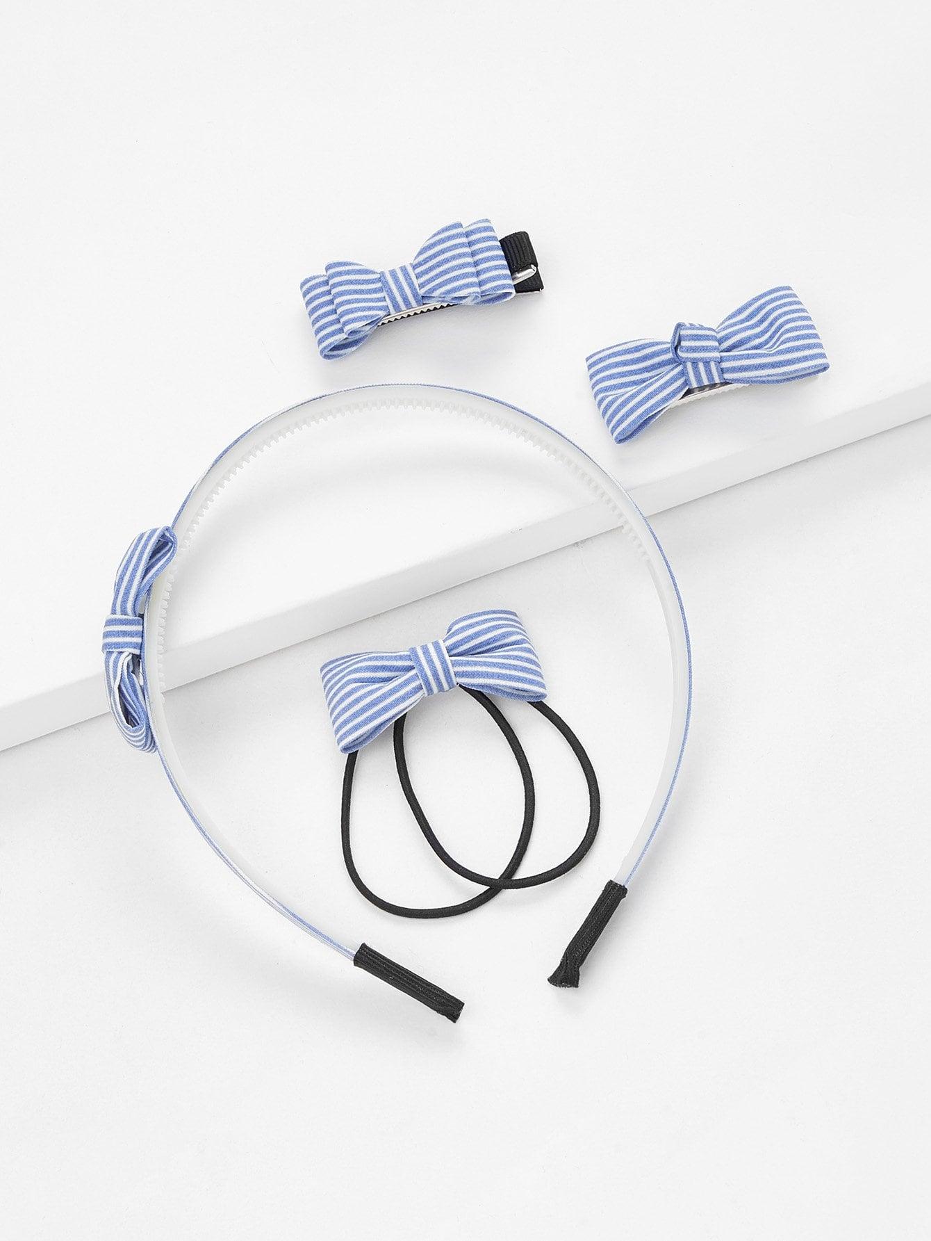 Striped Bow Hair Accessories 5pcs m mism fashion bow knot hair bands cute headband hair accessories ornaments hair hoop for girls kids head wear children