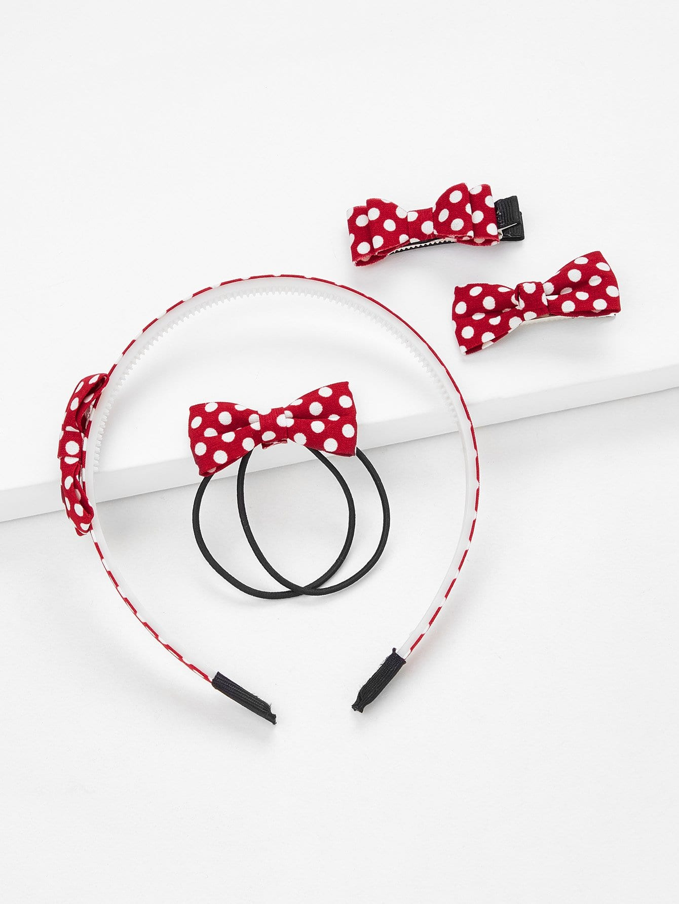 Аксессуары для волос Bowknot Polka Dot 5pcs, null, SheIn  - купить со скидкой