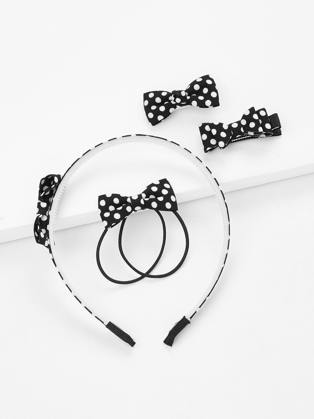 Polka Dot Bow Hair Accessories 5pcs