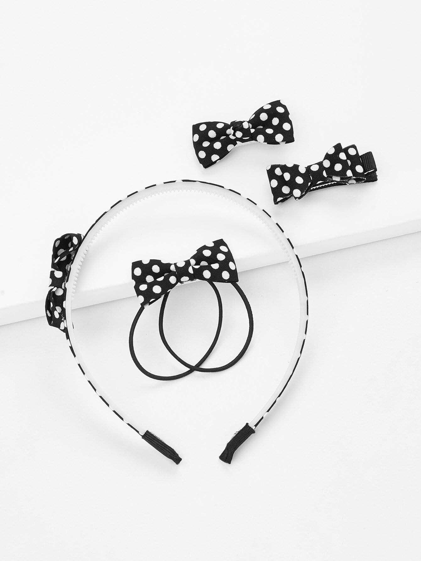 Polka Dot Bow Hair Accessories 5pcs 10pcs fashion girls hair band polka dot bow rabbit ears elastic hair rubber ponytail holder hair accessories for women headband