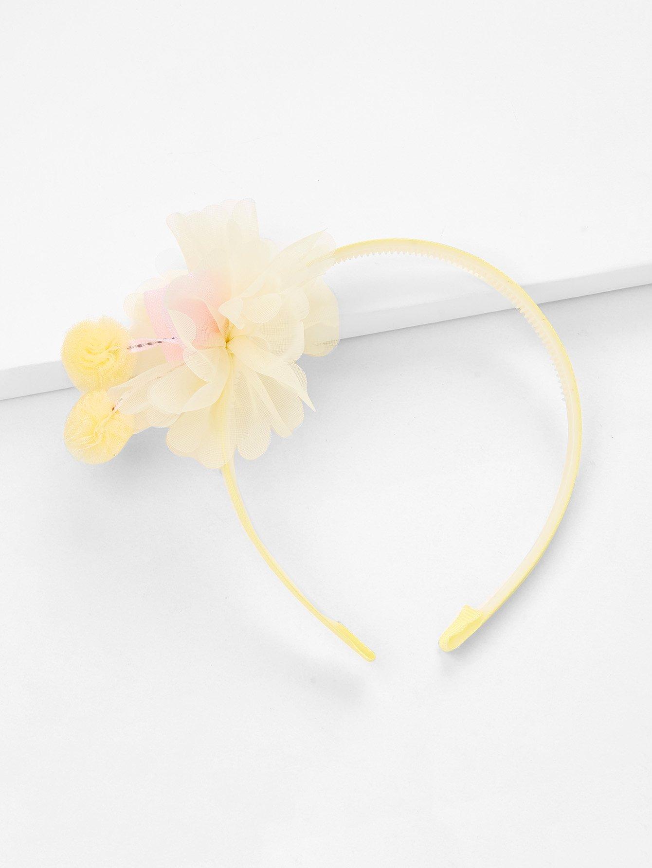 Flower & Pom Pom Decorated Headband flower decorated kids headband with pom pom