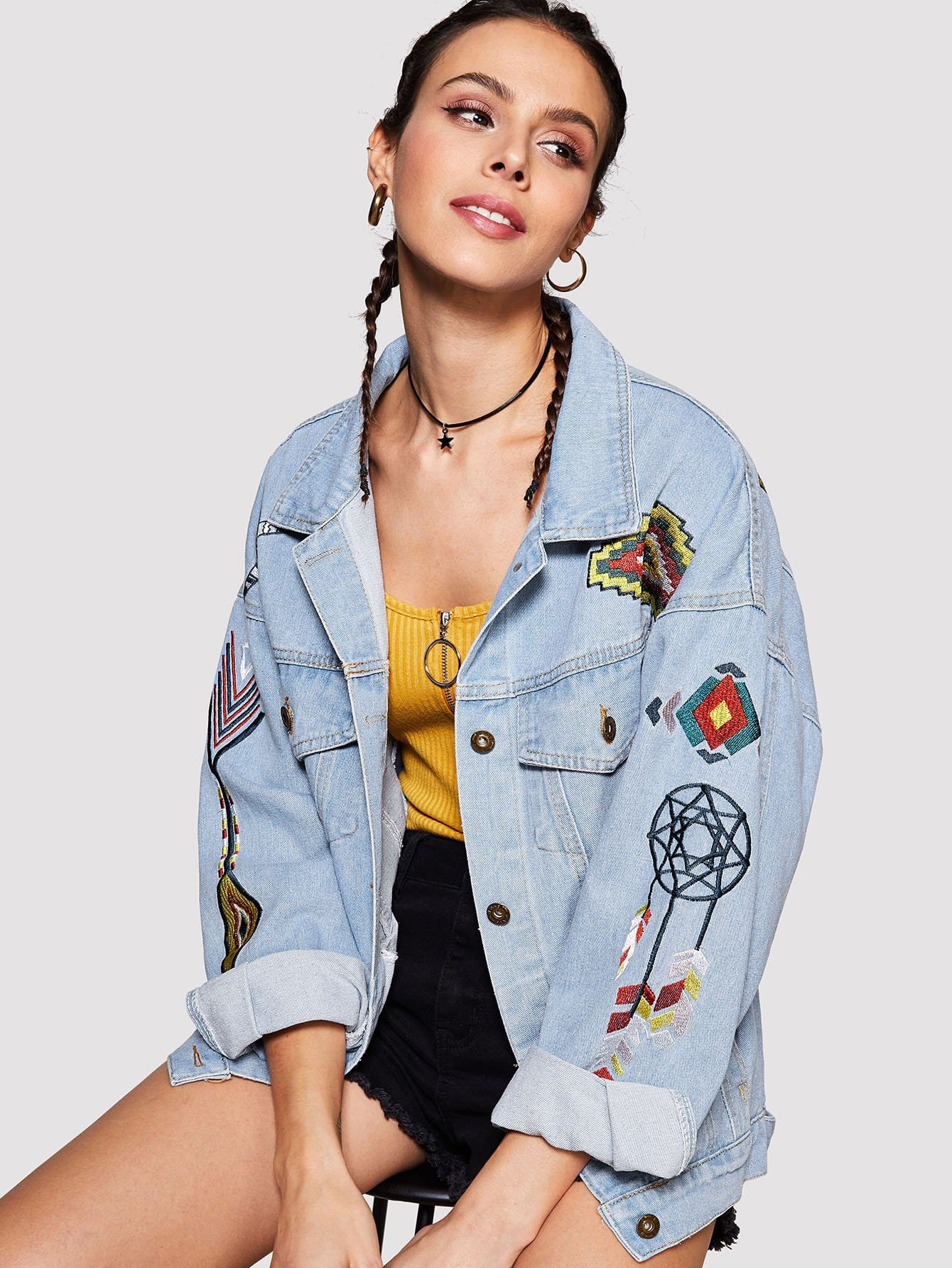 Cartoon Embroidered Denim Jacket cartoon embroidered sweater