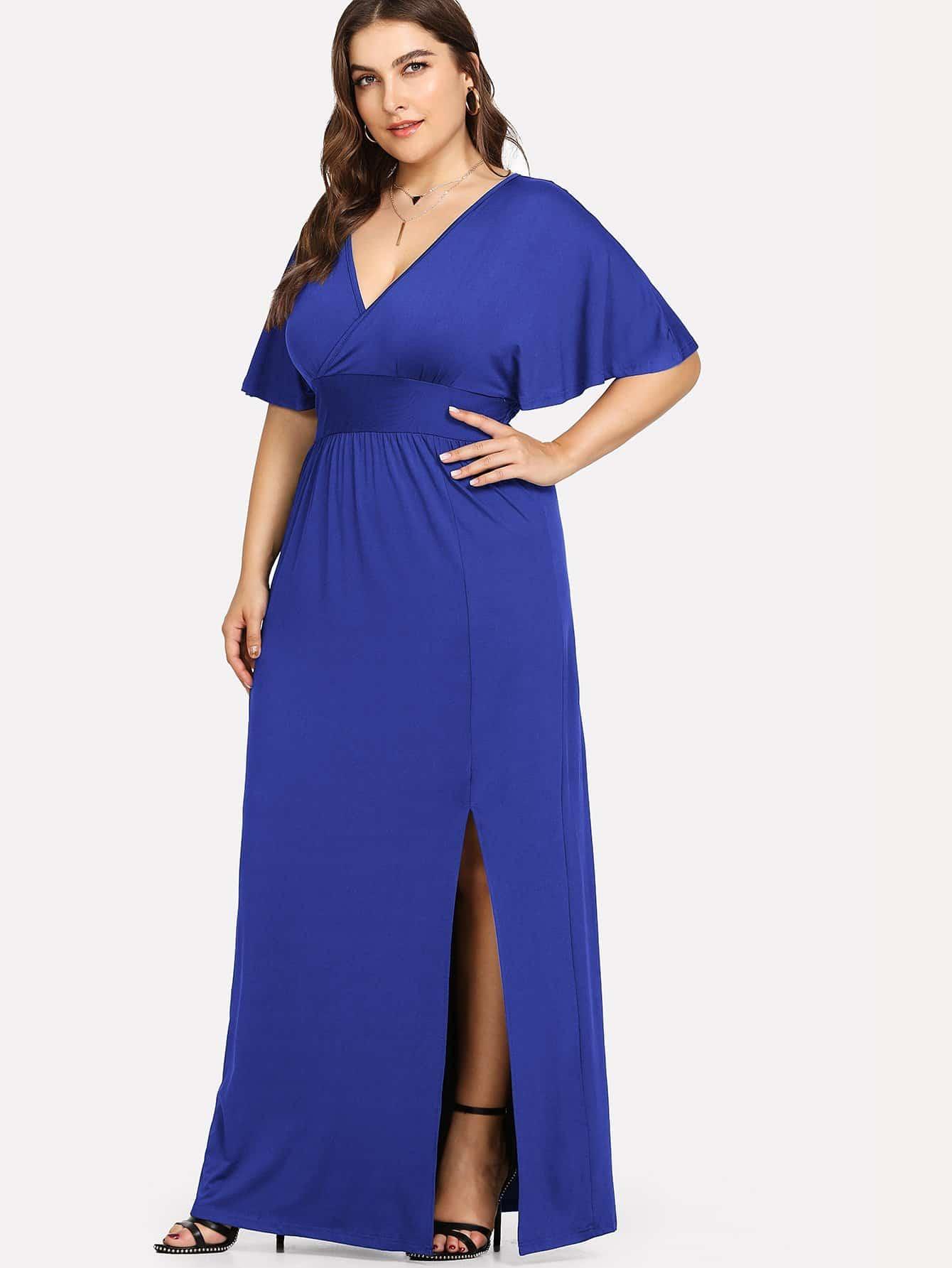 Plus Deep V Neck Split Hem Dress