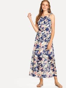 Floral Print Frill Trim Cami Dress