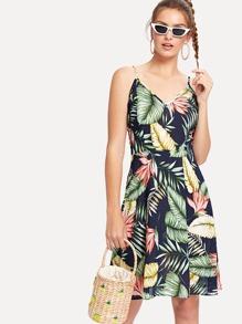 Tropical Geo Print Cami Dress