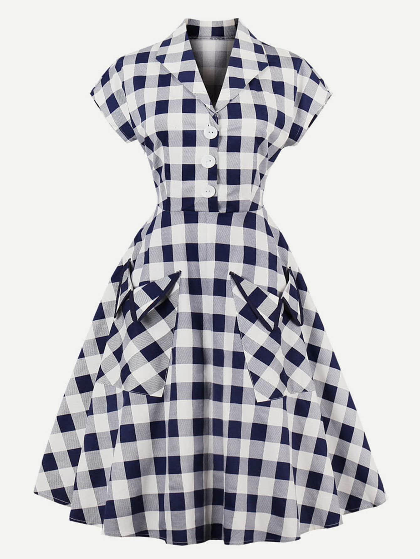 Single Breasted Front Plaid Dress все цены