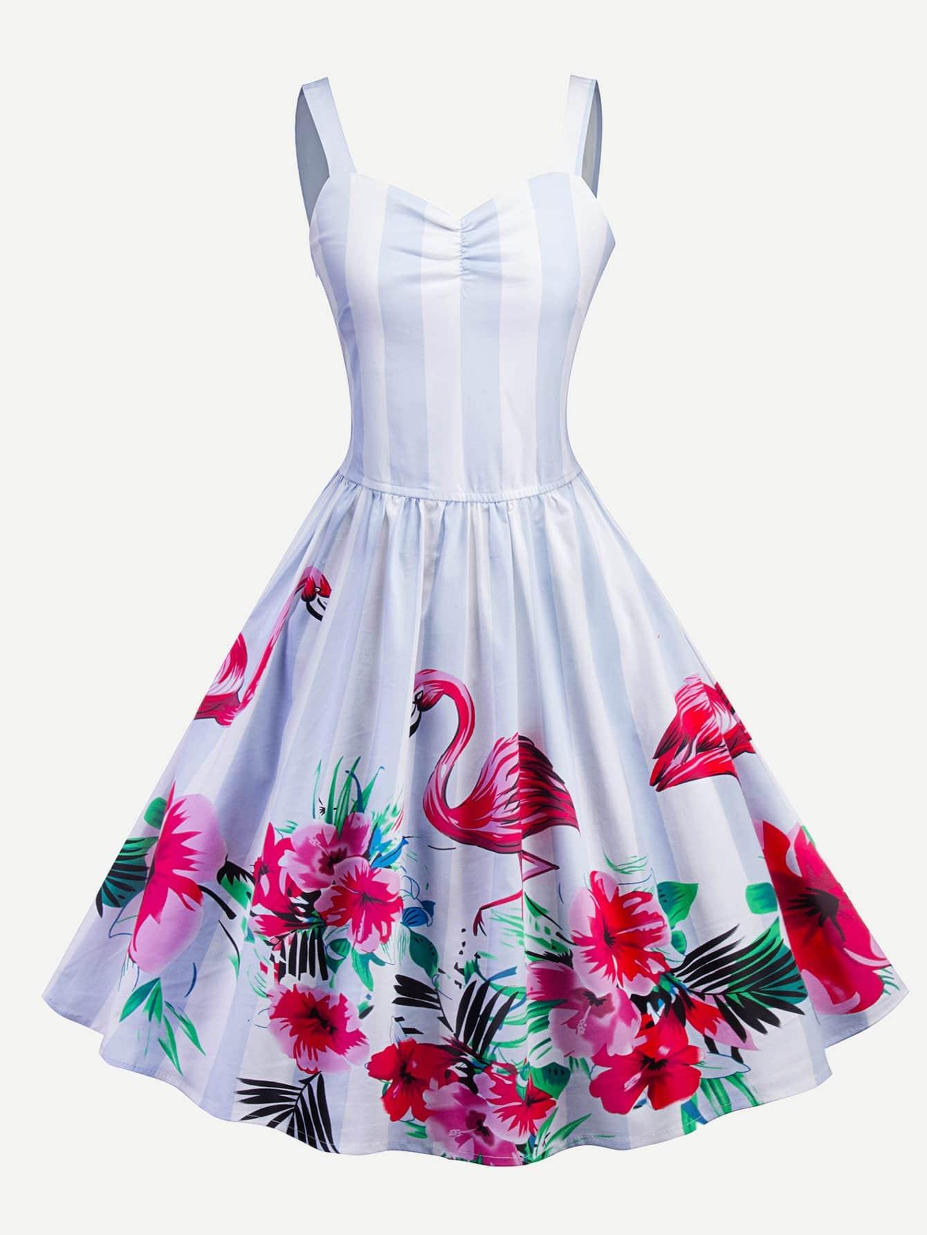 Flamingos Print Striped Cami Dress striped print color block cami dress