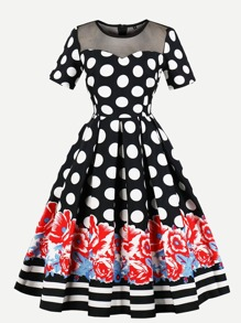 Mesh Panel Floral Print Polka Dot Dress