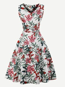 Floral Print V Neckline Dress