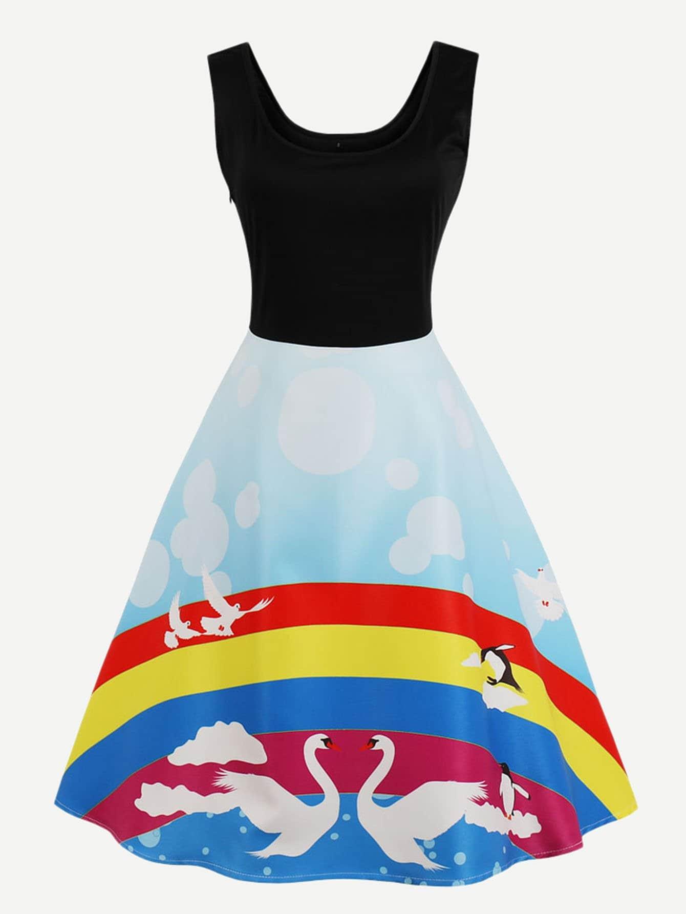 Rainbow Print Zip Up Side Dress zip up side plaid dress