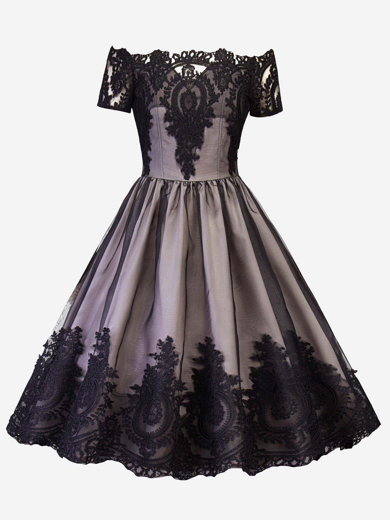 Купить Платье с кружевами и открытыми плечами, null, SheIn