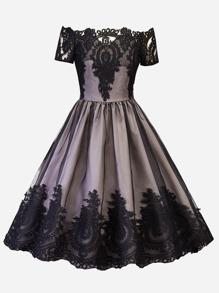 Off Shoulder Lace Panel Dress