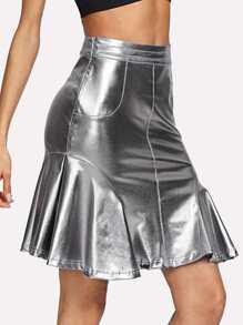 PU Ruffle Hem Skirt