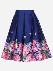 Floral Print Circular Skirt