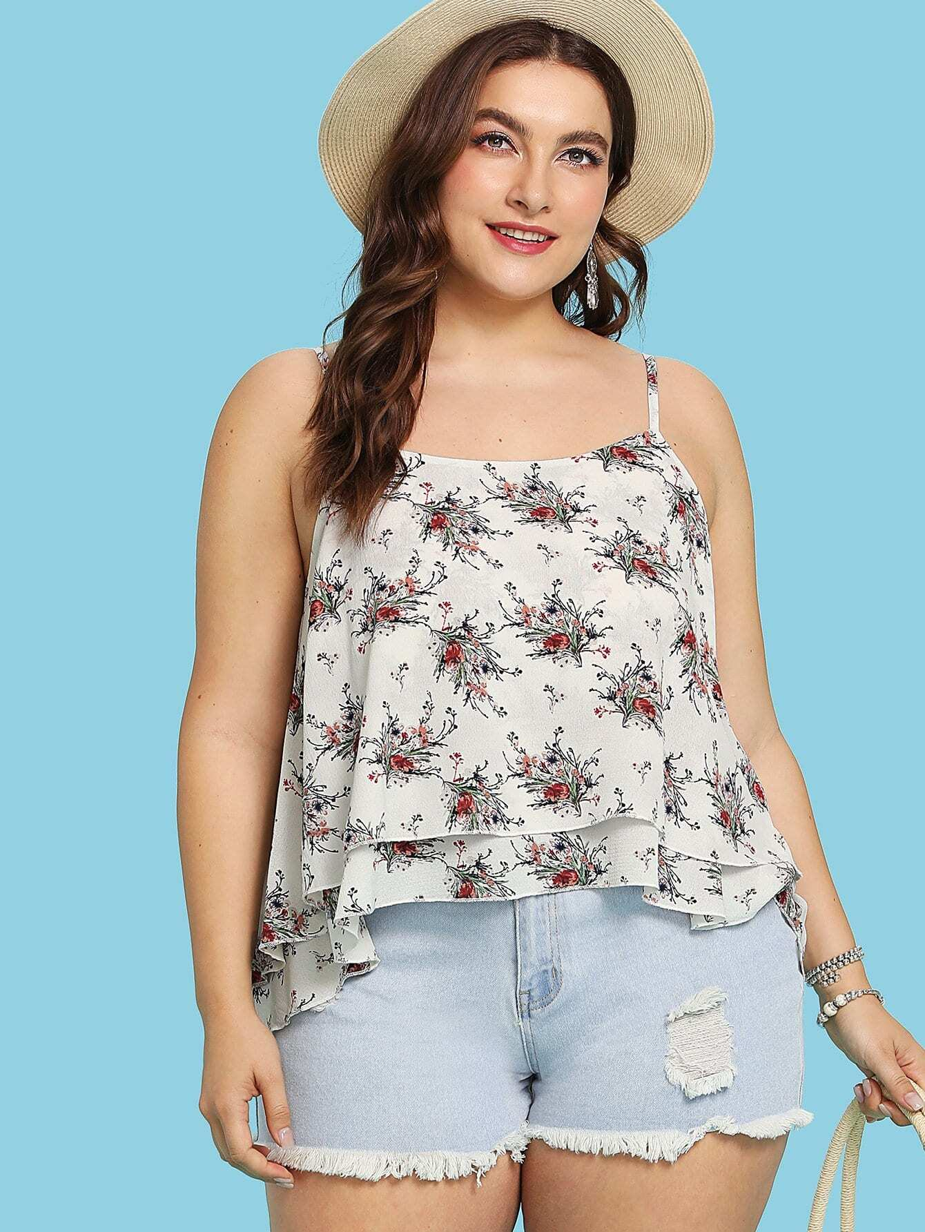 Floral Print Cami Top smocked floral cami top