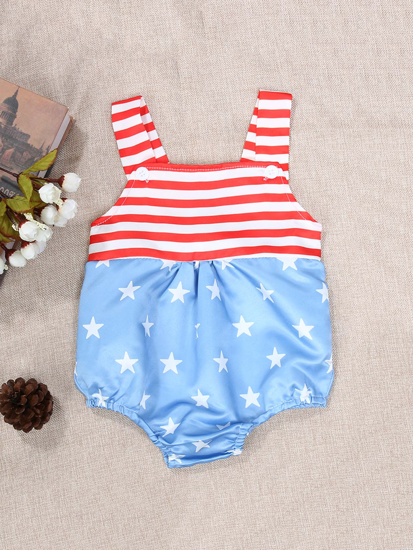 Kids Striped And Star Print Romper kids star and letter print striped blouse