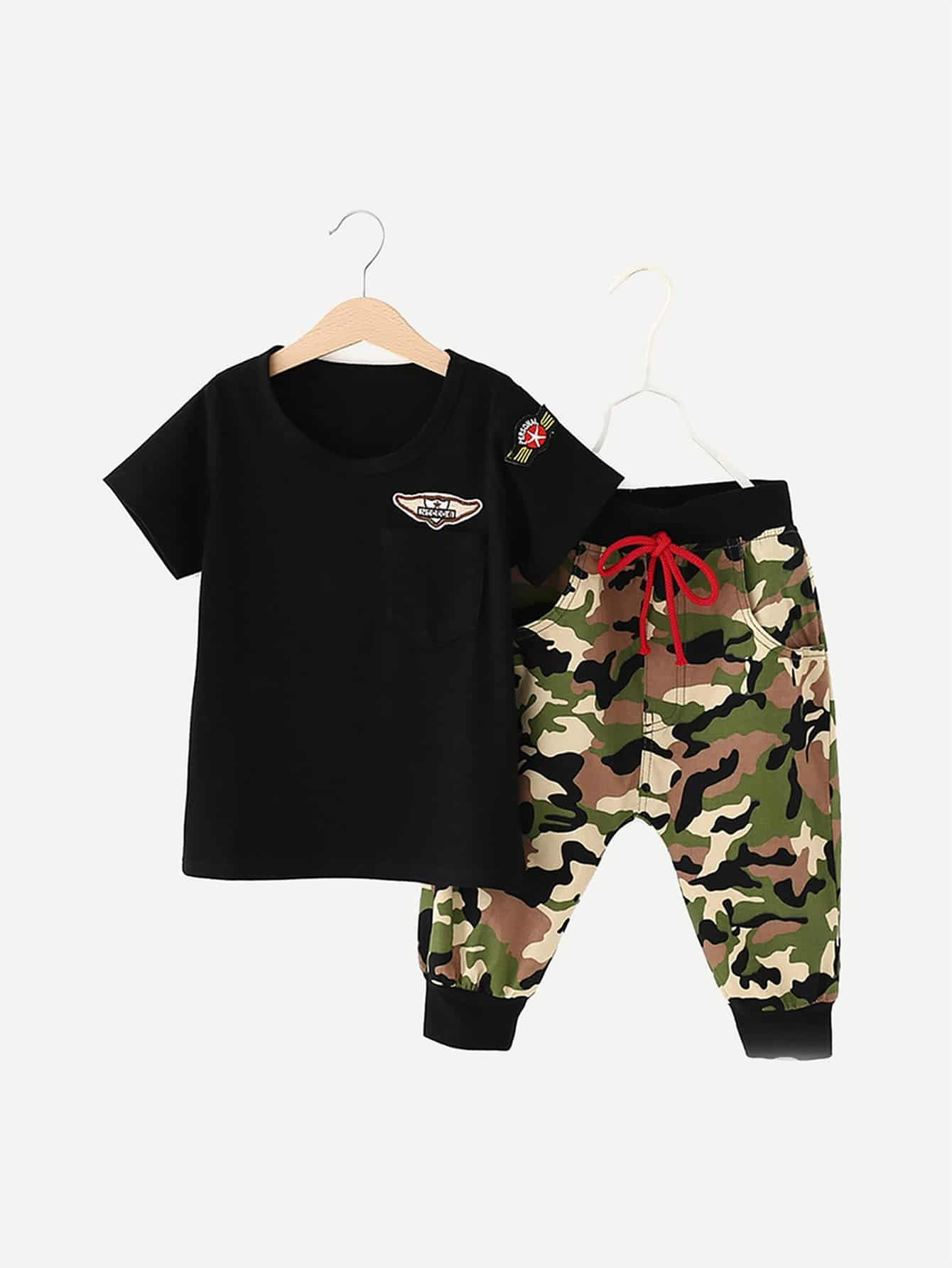 Boys Patched Tee With Drawstring Camo Pants