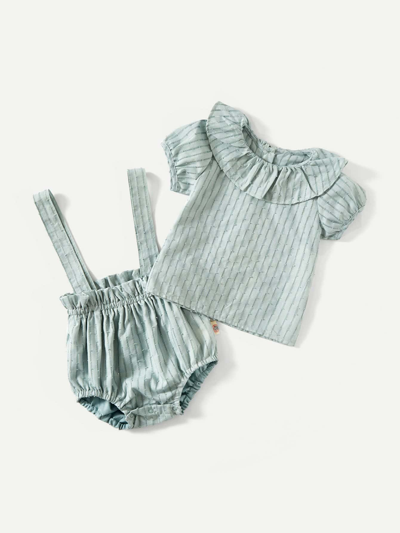 Kids Striped Blouse With Overall Shorts boat neckline striped blouse with buttons