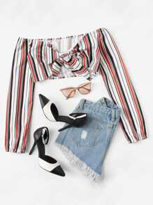 Knot Front Striped Crop Top