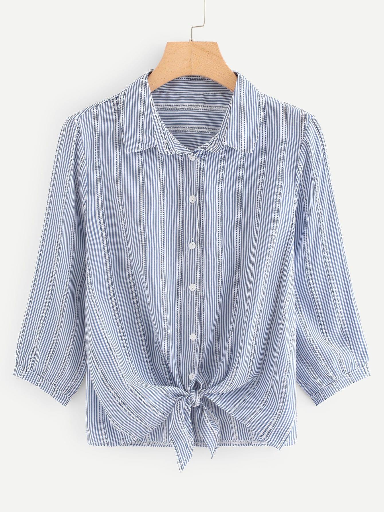 Knot Hem Split Side Striped Shirt