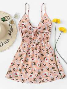Floral Print Cut Out Knot Front Cami Dress