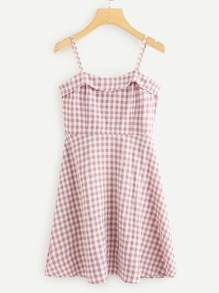 Zip Up Side Checked Cami Dress
