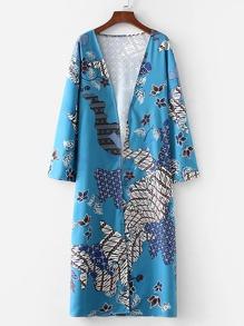 Floral Print Open Front Long Kimono