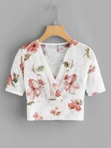 V Neckline Floral Print Tee
