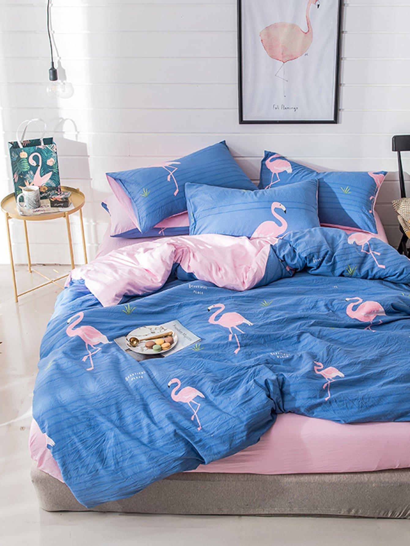 Купить Комплект для кровати с полосками и принтом фламинго, null, SheIn