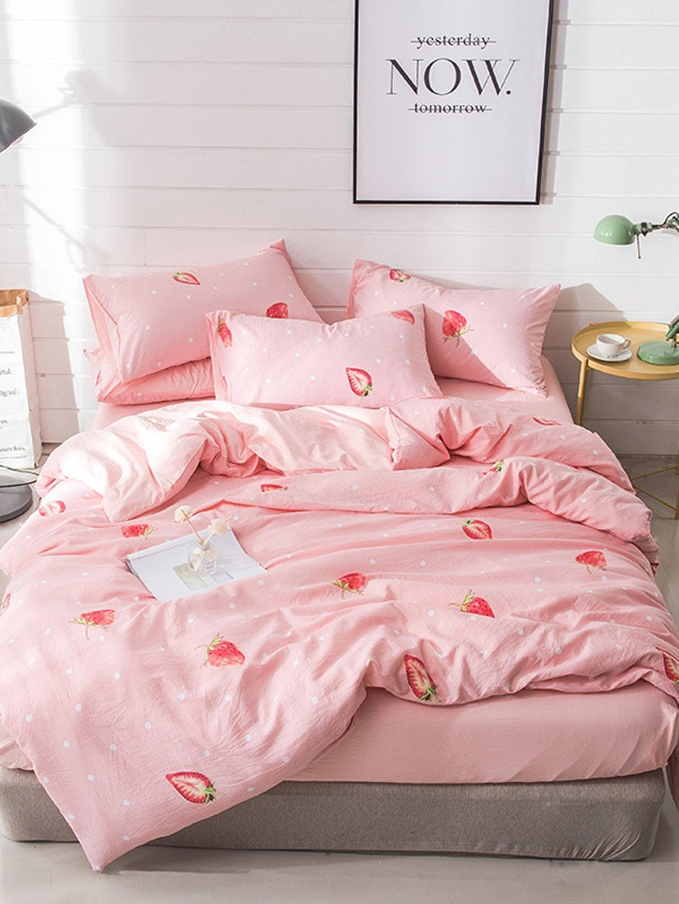 Купить Комплект для кровати с принтом в горошек и клубники, null, SheIn