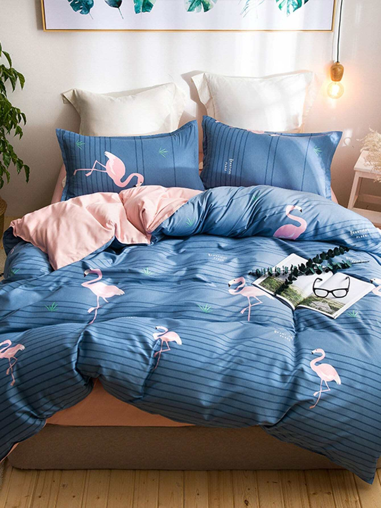 Купить Комплект для кровати с принтом полосками и фламинго, null, SheIn