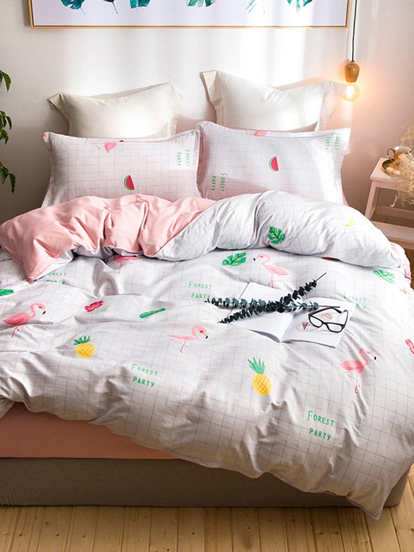 Flamingos & Fruit Print Sheet Set