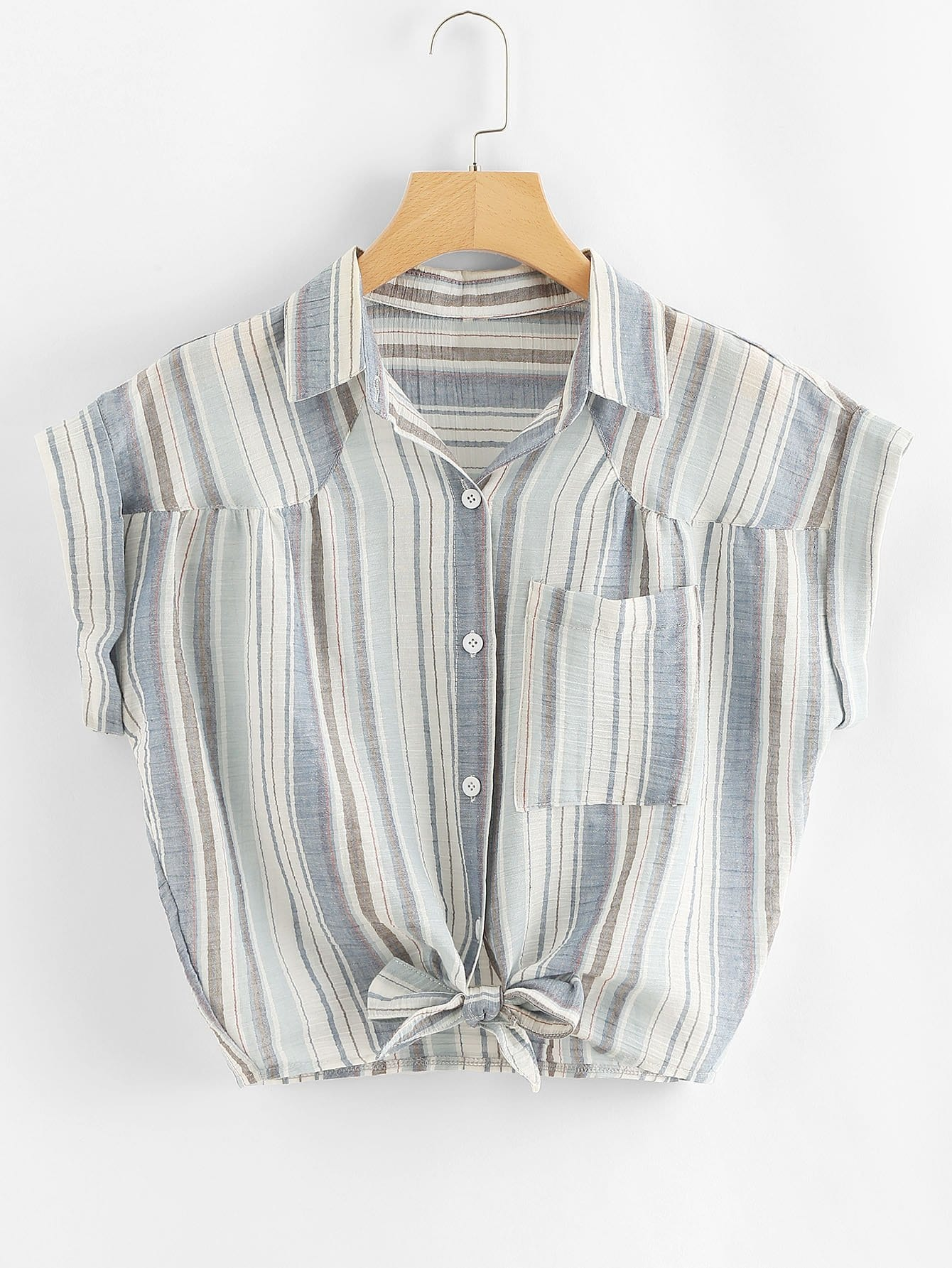 все цены на Knot Front Striped Shirt