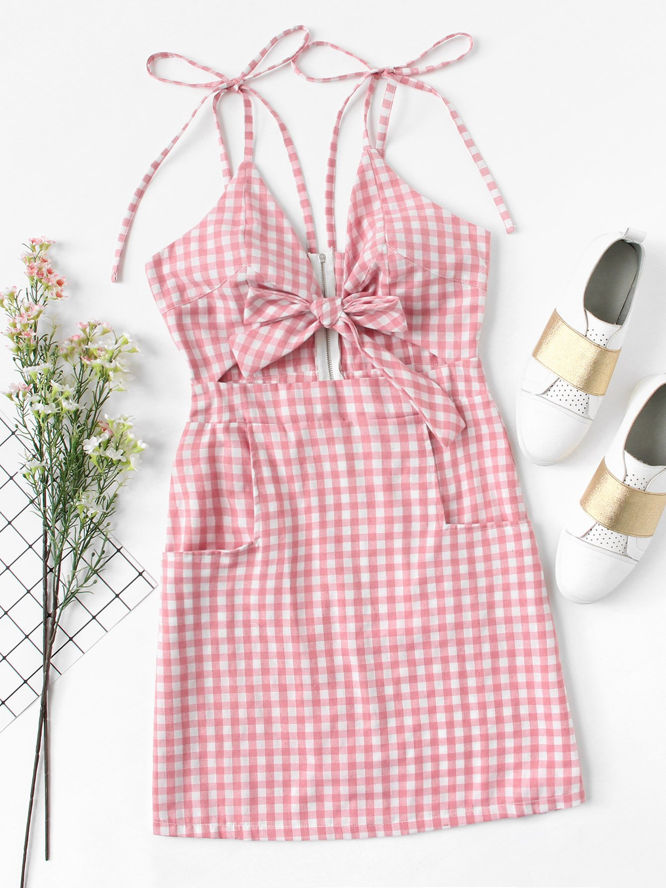 Tie Shoulder Knot Front Gingham Dress collared wrap front gingham tiered dress