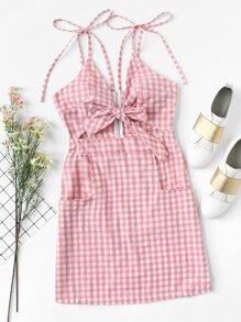 Tie Shoulder Knot Front Gingham Dress
