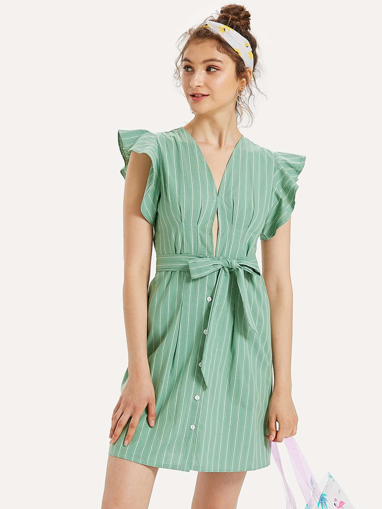 Self Tie Waist Vertical-Striped Dress striped ruffled waist self tie pants